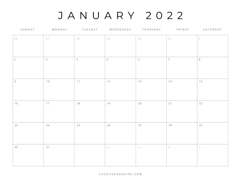 kostenloser druckbarer Kalender Januar 2022 pdf