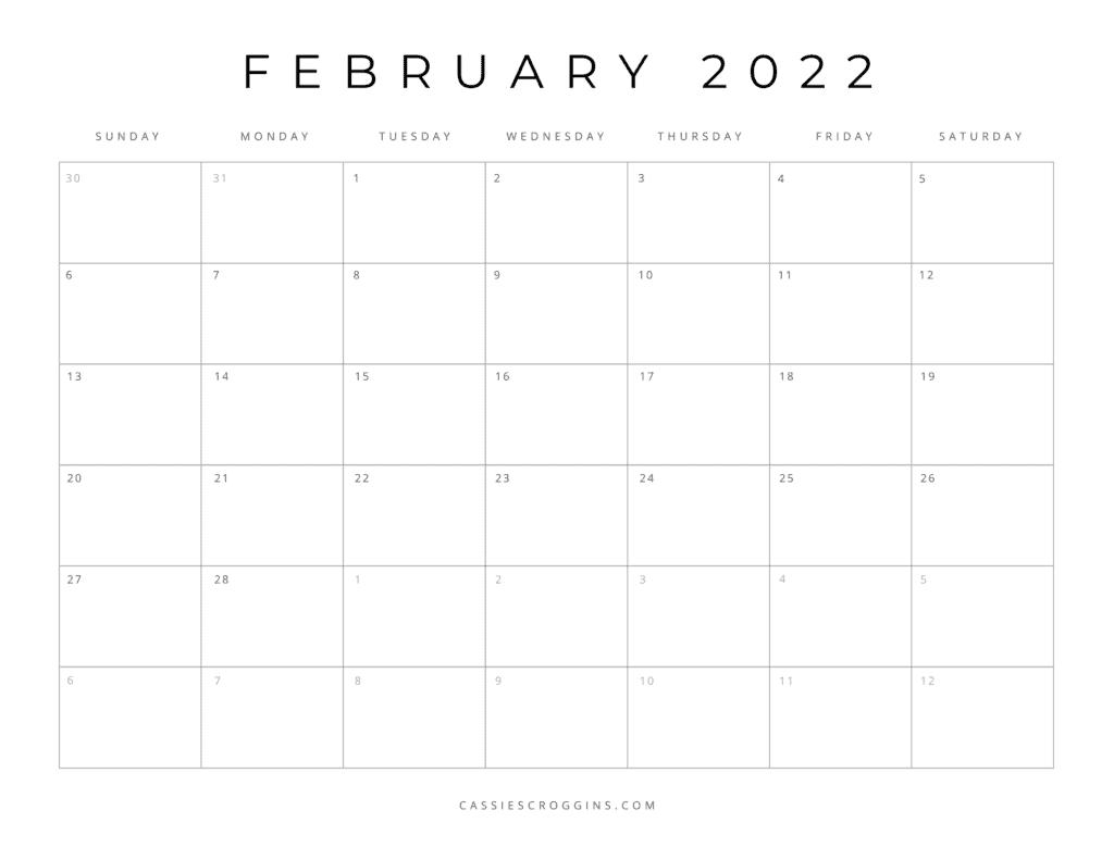 free printable february 2022 calendar pdf