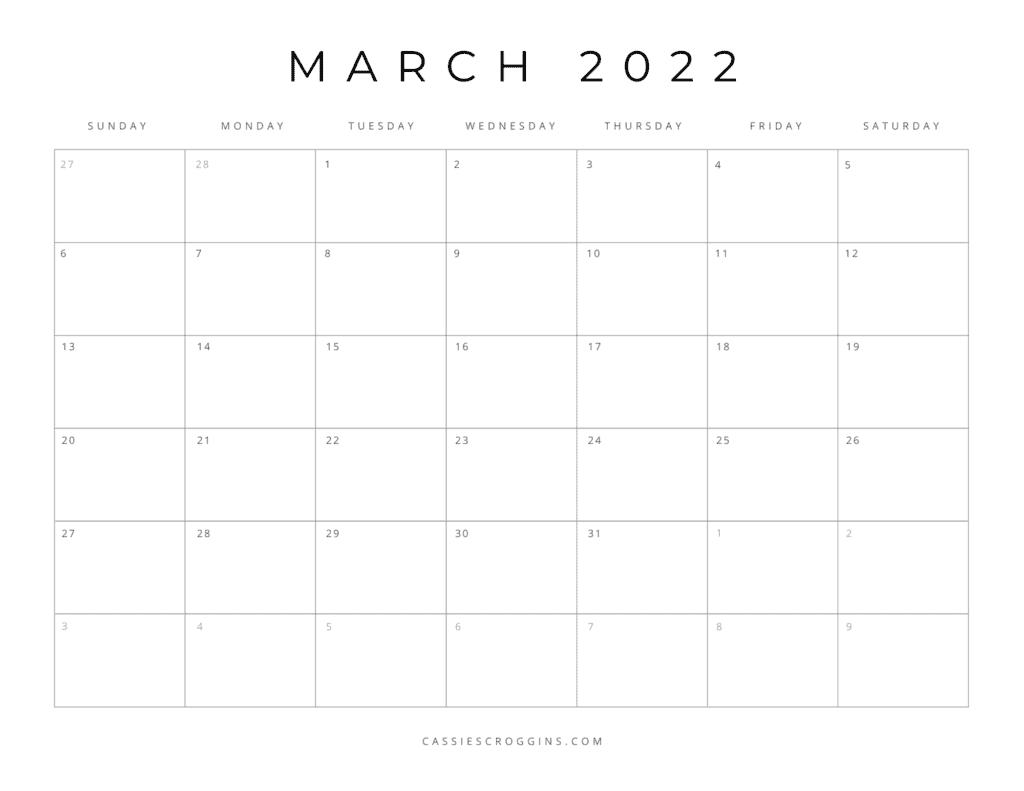 kostenloser druckbarer März 2022 Kalender pdf