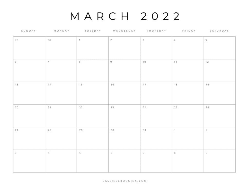free printable march 2022 calendar pdf