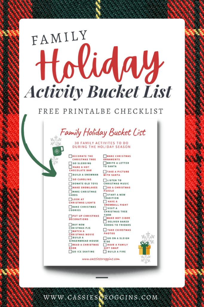free holiday activity checklist