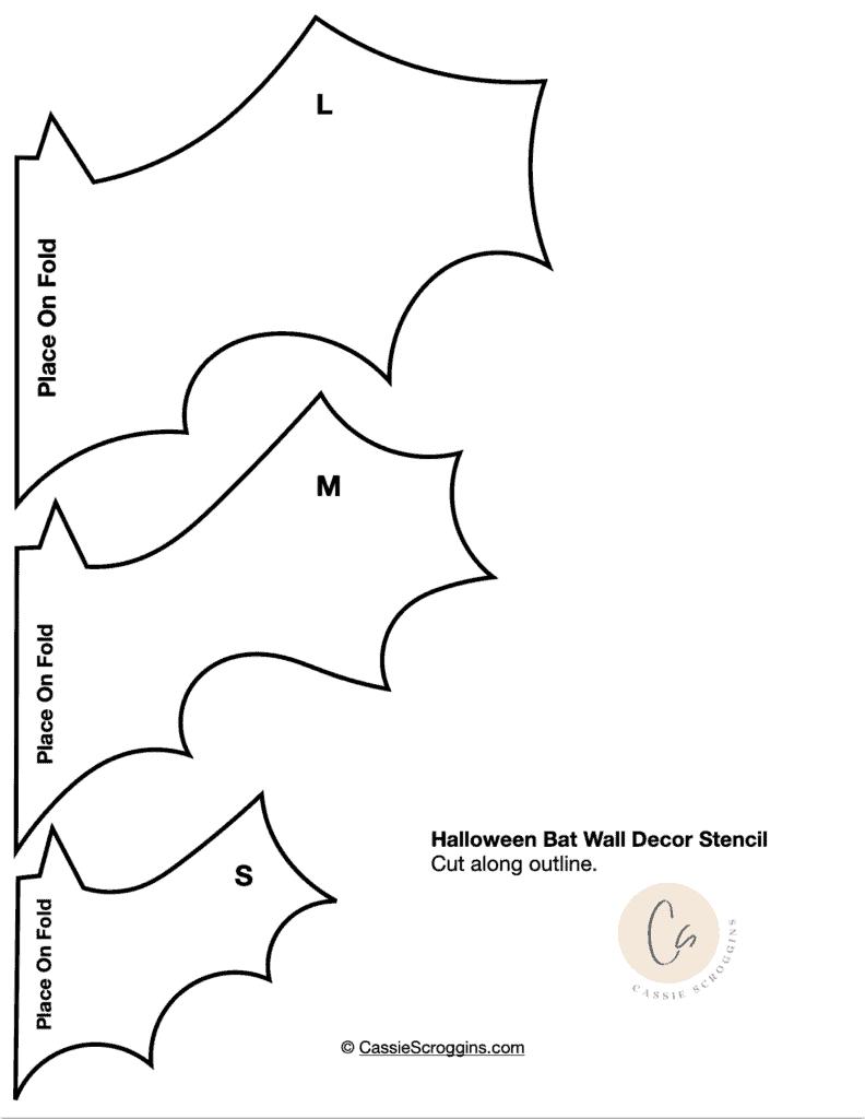 free printable paper bat wall stencil